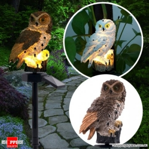 Solar Owl LED Lawn Lamp Waterproof Garden Decor Landscape Smart Auto On Off Light - Brown
