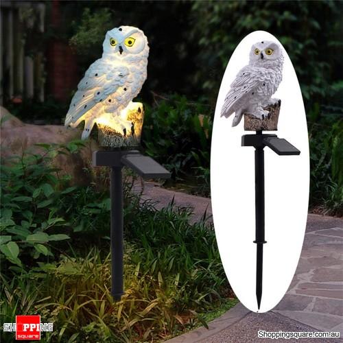 Solar Owl LED Lawn Lamp Waterproof Garden Decor Landscape Smart Auto On Off Light - White