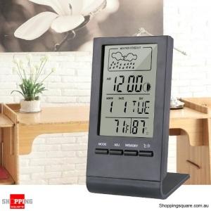 Digital Thermometer Hygrometer Alarm Clock Calendar Temperature Records - Black