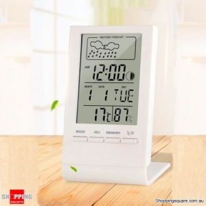 Digital Thermometer Hygrometer Alarm Clock Calendar Temperature Records - Black