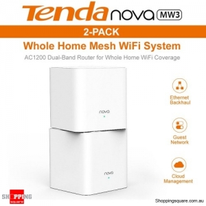 Tenda Nova MW3 AC1200 Whole Home Mesh WiFi System Router White (Pack of 2)