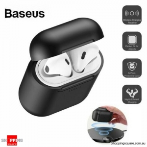 Baseus Wireless Charging Case Silicone Protective Cover For Apple Airpods - Black Colour