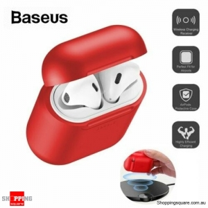 Baseus Wireless Charging Case Silicone Protective Cover For Apple Airpods - Red Colour