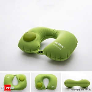 Portable Push Type Automatic Inflatable U-Shaped Pillow Neck Air Cushion Travel - Green