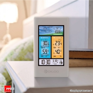 Color Screen Weather Station Temperature Humidity Indoor Outdoor Sensor Thermometer