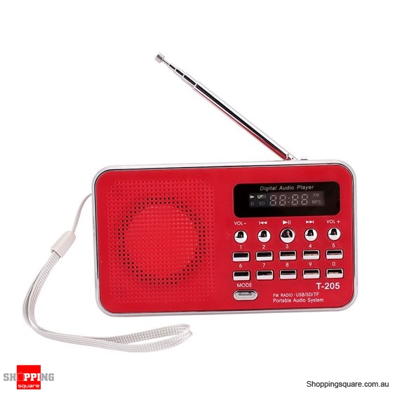 Portable Outdoor Sport HiFi Audio Digital Speaker Multimedia Loudspeaker FM Radio - Red
