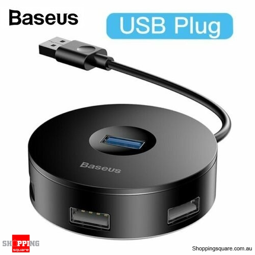 Baseus 4 Ports USB 3.0 HUB USB to USB3.0+USB2.0 Adapter for MacBook PC Black Colour