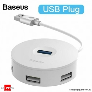 Baseus 4 Ports USB 3.0 HUB USB to USB3.0+USB2.0 Adapter for MacBook PC White Colour