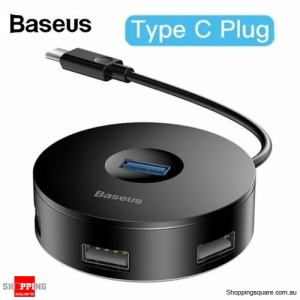 Baseus 4 Ports Type C to USB3.0+USB2.0 Adapter for MacBook PC Black Colour