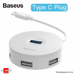 Baseus 4 Ports Type C to USB3.0+USB2.0 Adapter for MacBook PC White Colour