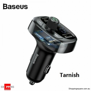 Baseus Handsfree Wireless Bluetooth Car Kit FM Transmitter MP3 Player USB Charging - Tarnish Colour