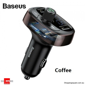 Baseus Handsfree Wireless Bluetooth Car Kit FM Transmitter MP3 Player USB Charging -  Coffee Colour