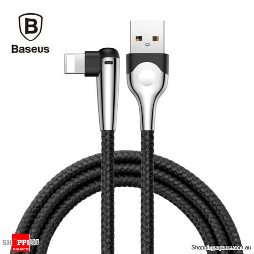 1M Baseus 90 Degree Right Angle USB Charger lightning Cable Apple iPhone iPod iPad Black Colour