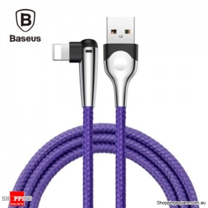 2M Baseus 90 Degree Right Angle USB Charger lightning Cable Apple iPhone iPod iPad Blue Colour