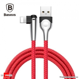 2M Baseus 90 Degree Right Angle USB Charger lightning Cable Apple iPhone iPod iPad Red Colour