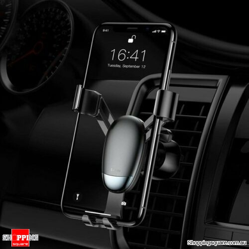 Baseus Universal Gravity Car Phone Holder Air Vent Mount for iPhone X XS Samsung Black Colour