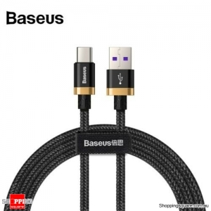 1M Baseus 5A 40W USB Type C Quick Charge Cable for Huawei Mate 20 P30 P20 Pro Black Colour
