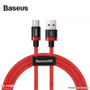 1M Baseus 5A 40W USB Type C Quick Charge Cable for Huawei Mate 20 P30 P20 Pro Red Colour
