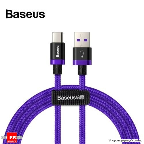 1M Baseus 5A 40W USB Type C Quick Charge Cable for Huawei Mate 20 P30 P20 Pro Purple Colour