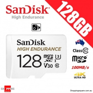 SanDisk High Endurance 128GB micro SD SDXC Memory Card UHS-I U3 V30 Class 10 100MB/s CCTV Surveillance Camera (2019)