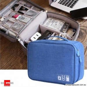 Multifunction Portable Cable Organizer Storage Bag Travel Digital Accessories - Blue