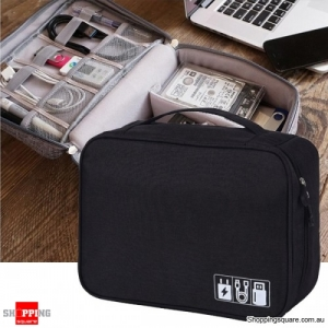 Multifunction Portable Cable Organizer Storage Bag Travel Digital Accessories - Black