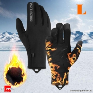 Waterproof Outdoor Sports Bike Motorcycle Winter Warm Finger Gloves Windproof Anti-slip Thermal Touchscreen Gloves - L