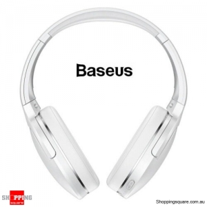 Baseus Bluetooth 5.0 Wireless Headphones Noise Cancelling Headset HiFi Bass White Colour
