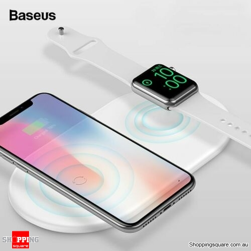 Baseus 2 in 1 Qi Wireless Charger Pad for iPhone XS XR X Apple Watch Series 2 3