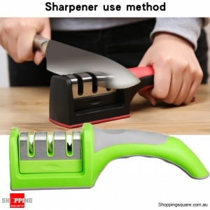 3 Stages Ceramic Sharpener Grinder Kitchen Blade Sharpen Stone - Green