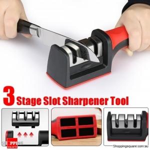 3 Stages Ceramic Sharpener Grinder Kitchen Blade Sharpen Stone - Black