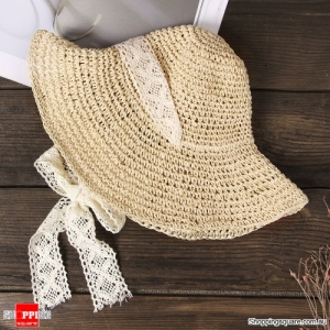 Women Foldable Lace Tie Handmade Straw Hat Sunscreen Travel Beach Floppy Hat - Beige