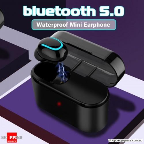 Single Mini bluetooth 5.0 Earphone Audio Stereo Waterproof Headset With 1200mAh Charging Case
