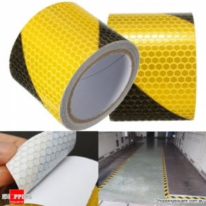 5x300cm Multi-functional Yellow Black Night Safety Reflective Tape Warning Conspicuity Tape Film Sticker
