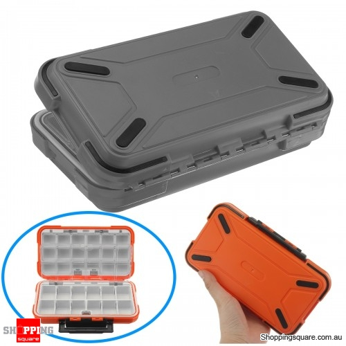 Dual-Layer Portable Plastic Fishing Lure Fish Hook Bait Storage Tackle Box Case Organizer - Gray