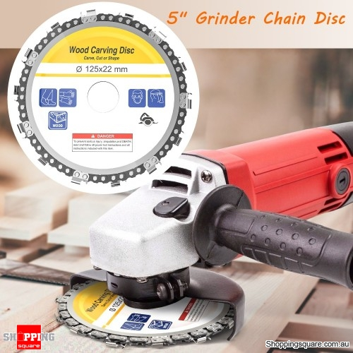 Drillpro 5 Inch Grinder Chain Disc 22mm Arbor 14 Teeth Wood Carving Disc  For 125mm Angle Grinder - Shoppingsquare Australia