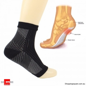 1 Pair Foot Sleeve Compression Sock Sore Wear Foot Relieves plantar Fasciitis - Black