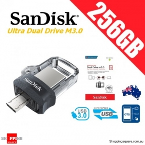 SanDisk Ultra Dual Drive M3.0 256GB SDDD3 USB 3.0 OTG Flash Drive Memory 150MB/s Smartphone Tablet PC