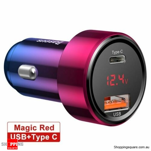 Baseus 45W Car Charger USB PD Type-C Quick Charge QC3.0 for Samsung iPhone Red Colour