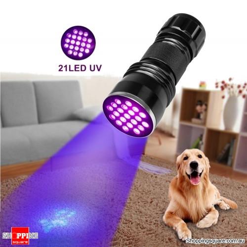 21-LED 400nm Violet UV LED Flashlight Fluorescence Sterilization Banknote Detection Torch - Black