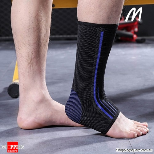 1pc Adjustable Nylon Ankle Support Sports Safety Elastic Band Running Fitness Protector- Medium Blue
