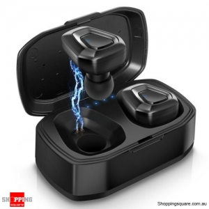 A7 TWS Twins Bluetooth Wireless Earbuds Earphone w/ Mic Black Colour
