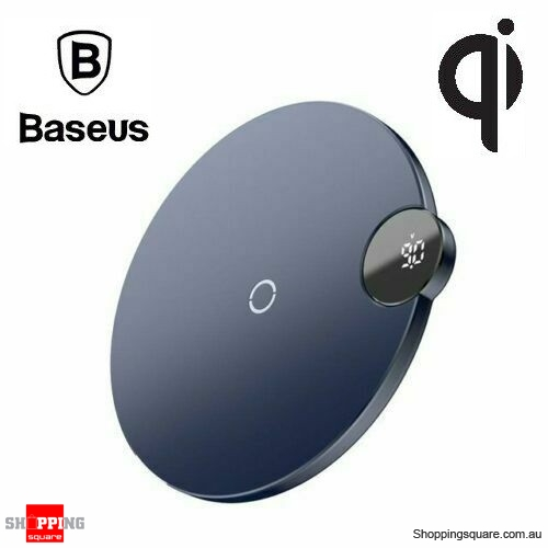 Baseus LED Digital Display Qi Wireless Charger for iPhone X XR XS Max 8 Samsung S10 S9 Note 9 Blue Colour