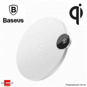 Baseus LED Digital Display Qi Wireless Charger for iPhone X XR XS Max 8 Samsung S10 S9 Note 9 White Colour