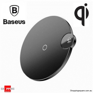 Baseus LED Digital Display Qi Wireless Charger for iPhone X XR XS Max 8 Black Colour