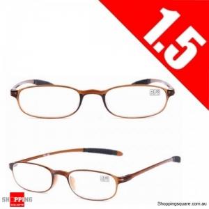 Ultralight Unbreakable Resin Best Reading Glasses Pressure Reduce Magnifying - Brown 1.5