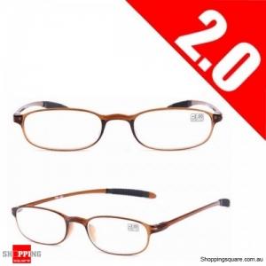 Ultralight Unbreakable Resin Best Reading Glasses Pressure Reduce Magnifying - Brown 2.0