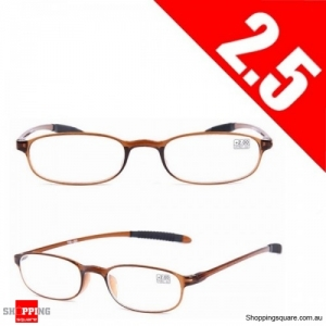 Ultralight Unbreakable Resin Best Reading Glasses Pressure Reduce Magnifying - Brown 2.5