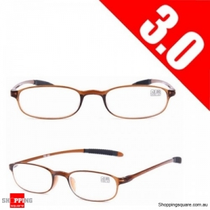Ultralight Unbreakable Resin Best Reading Glasses Pressure Reduce Magnifying - Brown 3.0