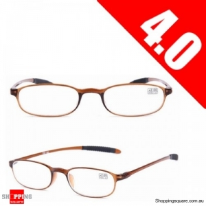 Ultralight Unbreakable Resin Best Reading Glasses Pressure Reduce Magnifying - Brown 4.0